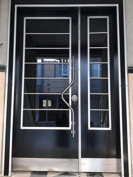 siyah bina giris kapisi apartman kapisi modelleri smartcelikkapi smart çelik kapı