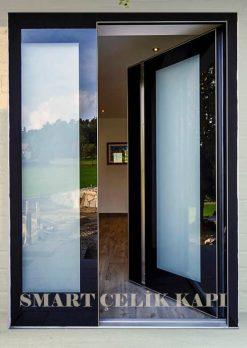 Villa Kapısı Siyah Ultralam Cam Detay