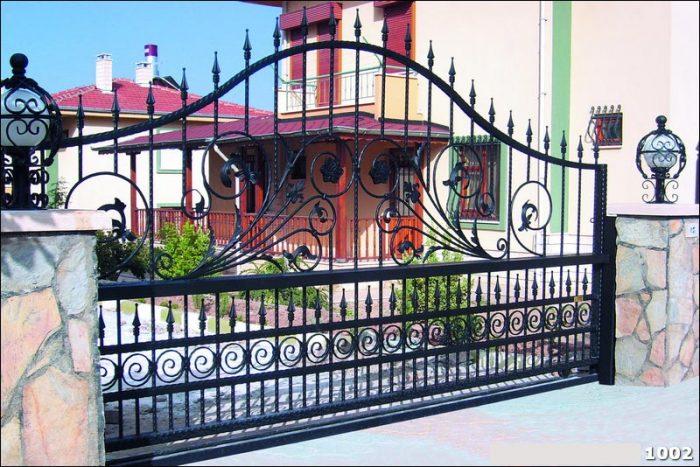 Ferforje Bahçe Kapısı Modelleri Sürgülü Otomatik Demir Kapı 1002