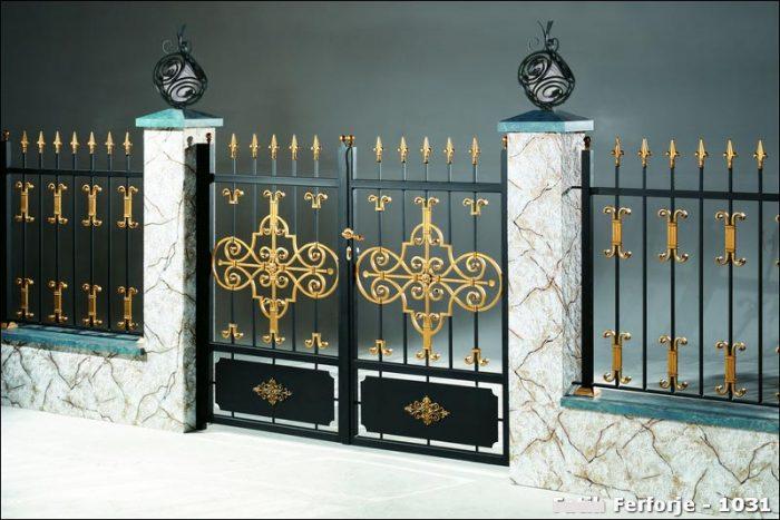 Ferforje Bahçe Kapısı Modelleri Sürgülü Otomatik Demir Kapı 1031