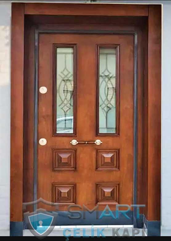 Ahşap Kaplama Villa Kapısı Ferforjeli DayBurn
