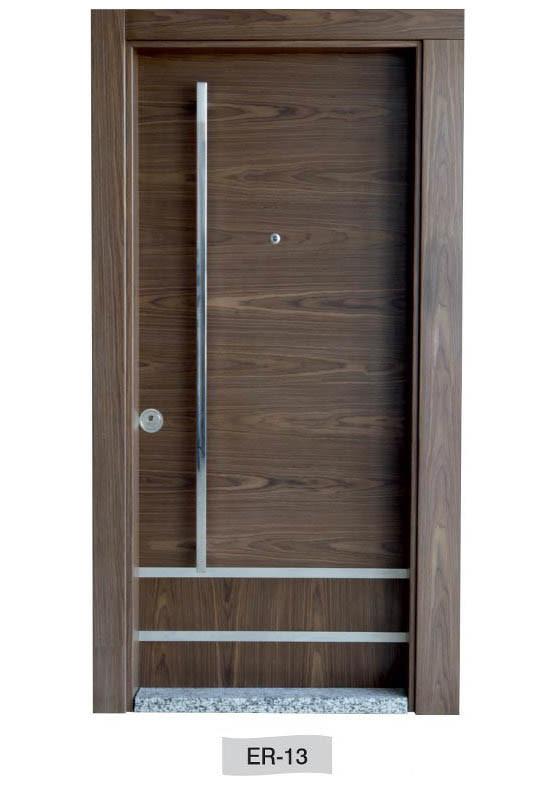 Ahşap Kaplamalı Ölçüye Özel Modern Çelik Kapı ER-13