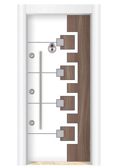 • 3 adet bağımsız çalışır Kale Kanca Kilit sistemi • 1,2 mm. DKP Sac kalınlığı • Kasa: Fırınlanmış elektrostatik boya – Beyaz renk • Kanat: 10 mm. mdf üzeri Laminant Beyaz/Tanganika – Kromlu • Kanat içi: yatay 4 profil üzeri kaynatılmış boy sac ve yalıtım malzemesi • Gizli emniyet kelepçesi ve emniyet mandalı • 3 adet kasaya kaynatılmış, boyanmış milli menteşe • Çelik kapıyı 6 noktadan kasaya bağlayan emniyet pimleri ve yuvası • Gömme çelik rozetler • Aksesuarlar; Saten kromdur.(100 cm. boru çekme kol, açma kolu, dürbün ve halka model taktak)
