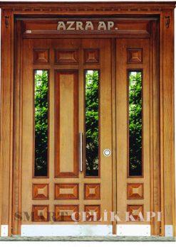 Ahşap Kaplama Apartman Giriş Kapısı Bina Kapısı SBK-010