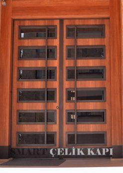Ahşap Kaplama Apartman Giriş Kapısı Bina Kapısı SBK-011