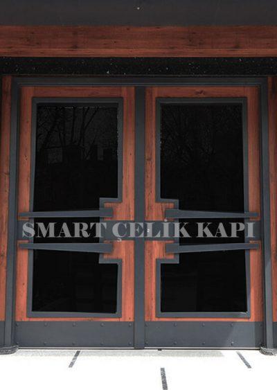 SBK-027 Apartman kapısı modelleri bina giriş kapısı modelleri apartman giriş kapısı fiyatları smart çelik kapı bina kapısı modelleri alarmlı şifreli bina kapısı ahşap kaplama apartman kapısı