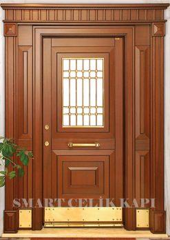 Ahşap Kaplama Apartman Giriş Kapısı Bina Kapısı SBK-029