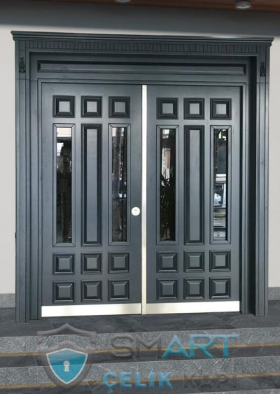 apartman kapısı ahşap kaplama bina kapısı antrasit apartman kapısı modelleri