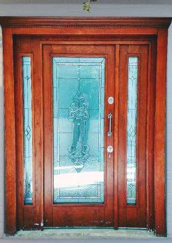 Ahşap Vitray Camlı Apartman Kapısı Villa Kapısı SBK-036