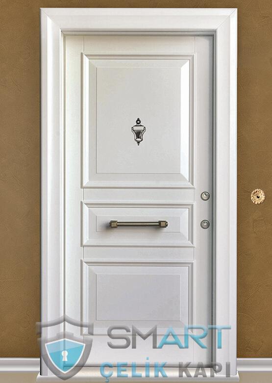 Beyaz Çelik Kapı Kabartmalı Lüks Unicorn