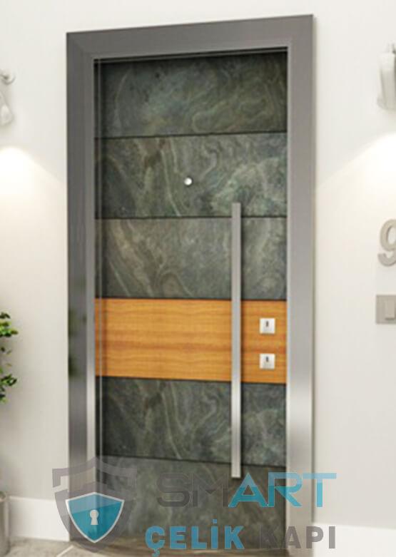 Rock Doğal Taş Kaplama Modern  Çelik Kapı