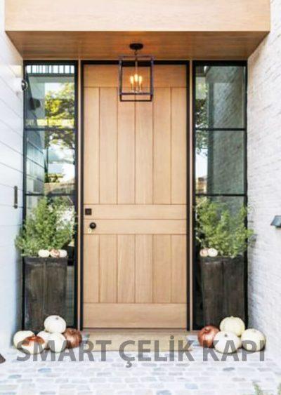 villa kapısı 2 ahşap kaplama villa kapısı özel üretim villa kpaısı kompozit villa kapısı