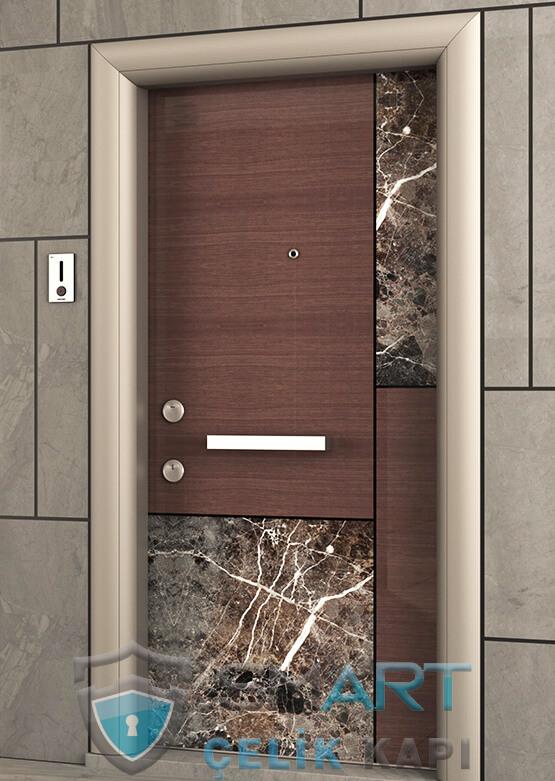 Özel Tasarım Modern Çelik Kapı Granit Detaylı Helios