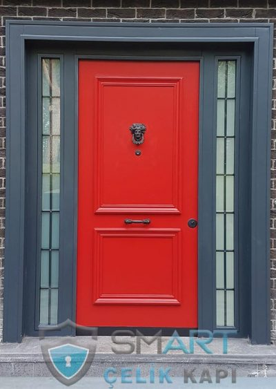 Smart Villa Kapısı Kırmızı Villa Kapısı Modelleri Özel Villa Kapıları İndirimli Çelik Kapı