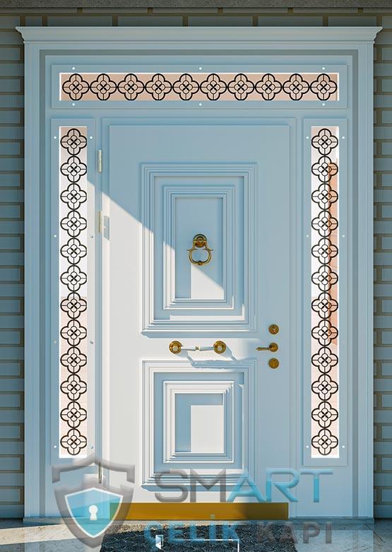 Villa Kapısı Dış Mekan Beyaz Ölçüye Özel Üretim VK-086