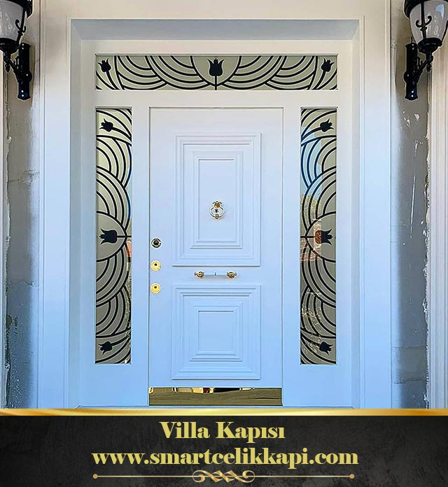 Villa Kapısı Beyaz Villa Kapısı Çelik Kapı Camlı Dış Mekan Villa Giriş Kapısı