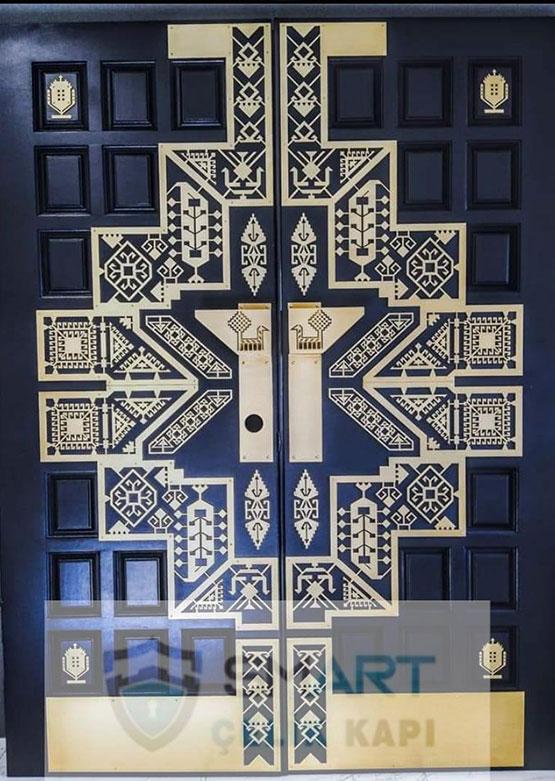 Kurşun Geçirmez Siyah Desenli Lüks Villa Kapısı YHY 0213