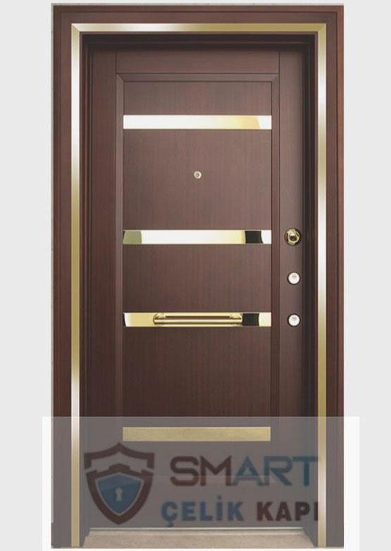 Koyu Kahve Altın Model Çelik Kapı YHY 0228