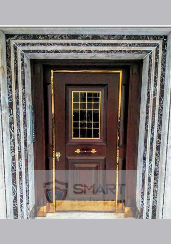 Ahşap Görünümlü Şeritli Modern Villa Kapısı YHY 0232