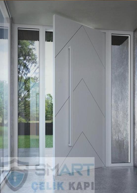 Beyaz Lüks Kompak Kompozit Villa Kapısı YHY 0293
